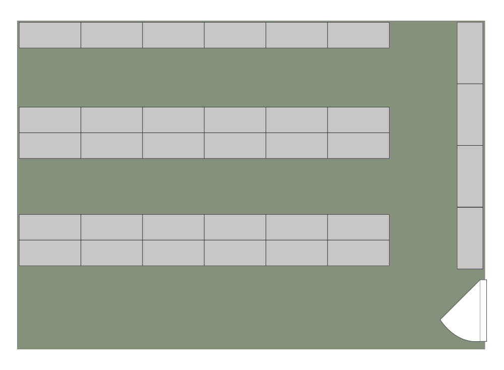 Floor plan of Competitor of 35 cabinets storing 800 weapons