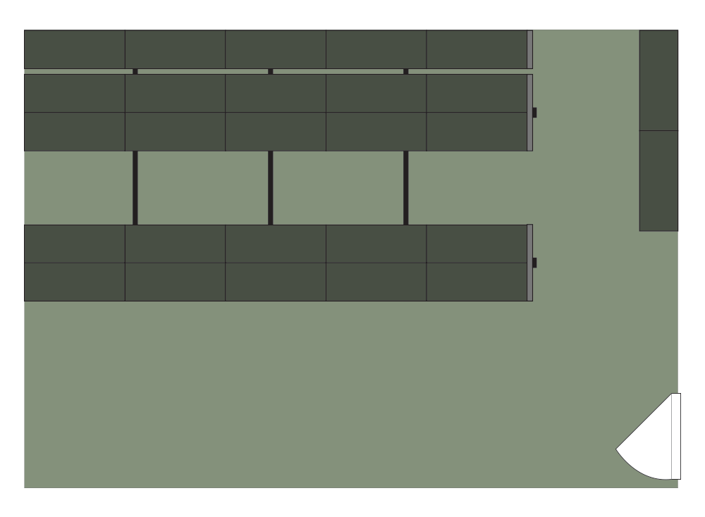 Floor plan of Spacesaver of 27 cabinets storing 800 weapons on high-density mobile shelving with room for growth or other storage/uses