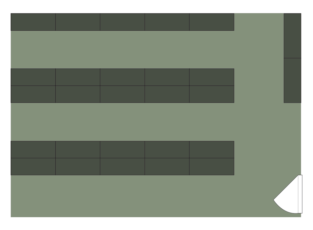 Floor plan of Spacesaver of 27 cabinets storing 800 weapons