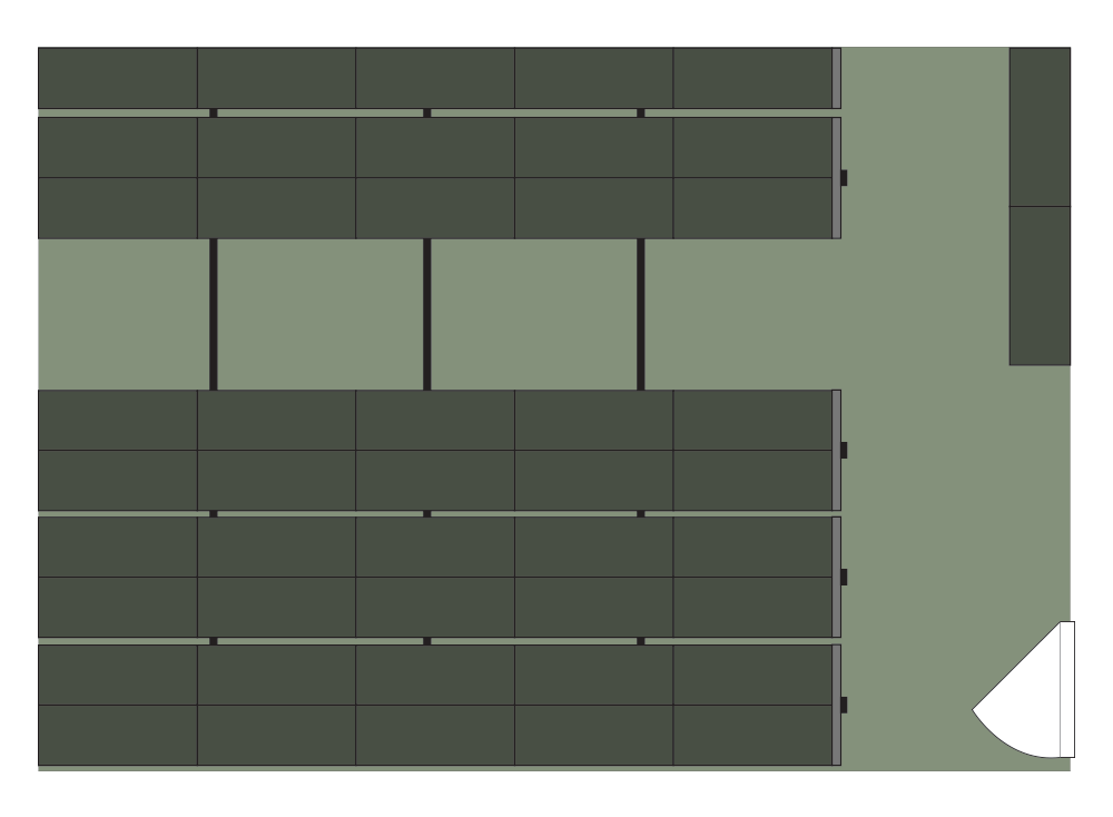 Floor plan of Spacesaver of 47 cabinets storing over 1400 weapons on high-density mobile shelving