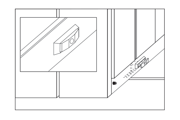 Drawing of locking option on compact shelving system