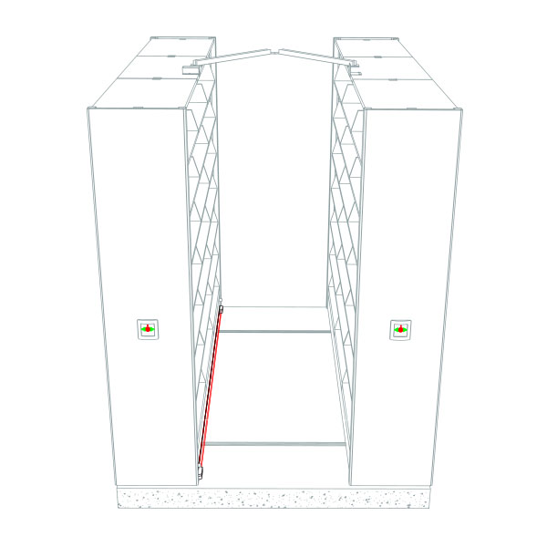 Photo Sweep safety drawing for powered compact storage systems