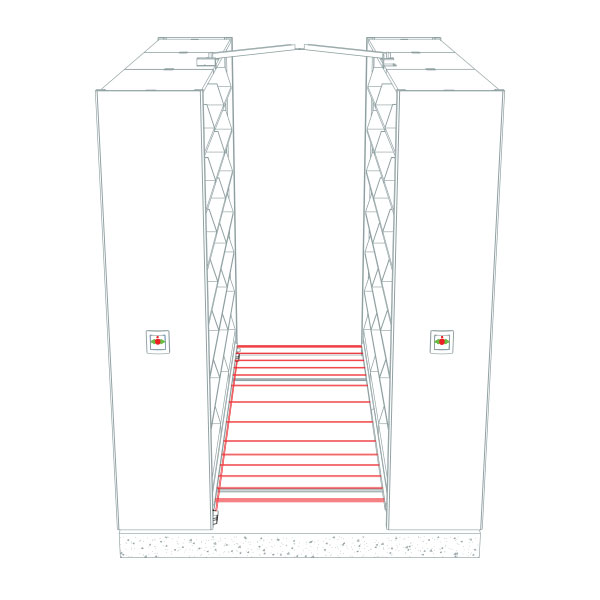 Zero Force Entry Safety drawing for powered compact storage system
